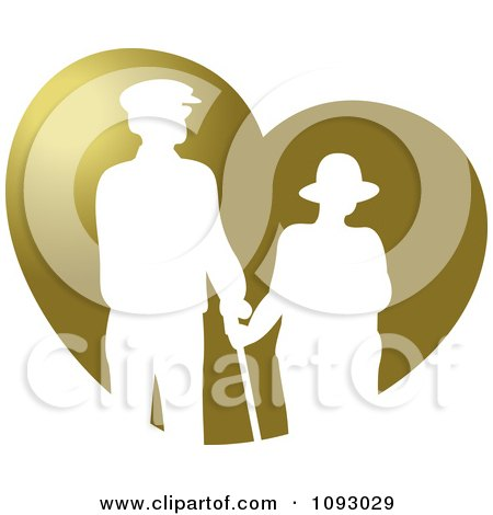 Clipart White Silhouetted Senior Couple Over A Gold Heart - Royalty Free Vector Illustration by Lal Perera