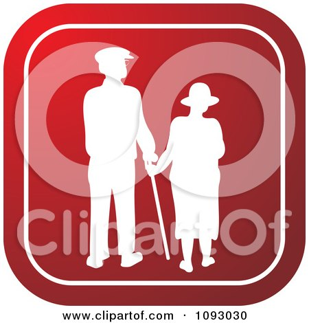 Clipart White Silhouetted Senior Couple Over A Red Square - Royalty Free Vector Illustration by Lal Perera