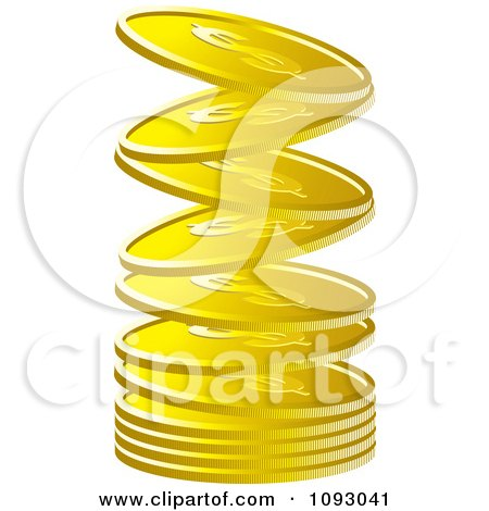 Clipart Gold Dollar Coins Falling Into A Stack - Royalty Free Vector Illustration by Lal Perera