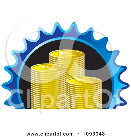 Clipart Stacks Of Gold Dollar Coins In A Blue Gear - Royalty Free Vector Illustration by Lal Perera