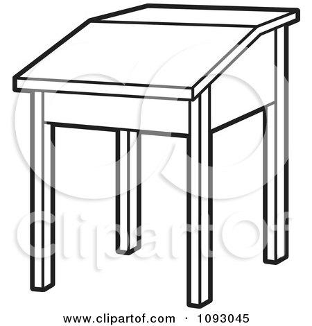 Clipart Outlined Lift Top School Desk Royalty Free
