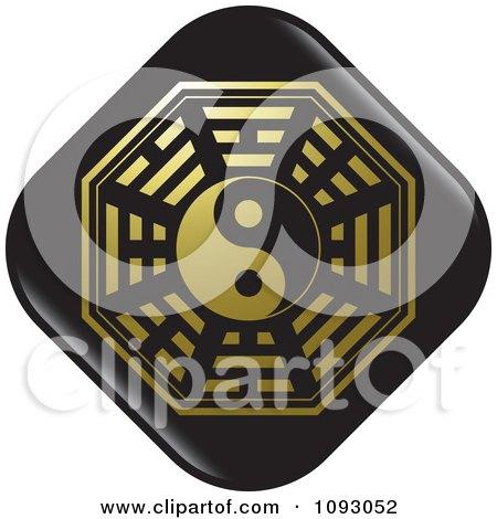Clipart Black And Gold Yin Yang Chinese Symbol - Royalty Free Vector Illustration by Lal Perera