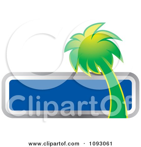 Clipart Green Palm Tree And Blank Blue Sign - Royalty Free Vector Illustration by Lal Perera