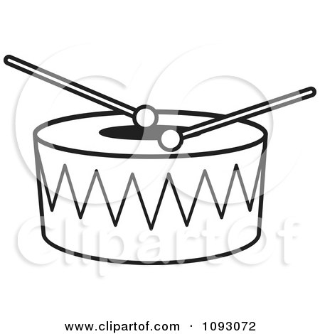 Clipart Outlined Sticks Resting On A Drum - Royalty Free Vector Illustration by Lal Perera