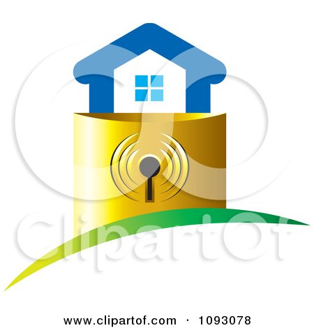 Clipart Blue House On A Golden Padlock Base - Royalty Free Vector Illustration by Lal Perera