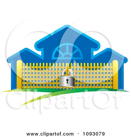 Clipart Padlock Securing A Golden Gate By A Blue Building - Royalty Free Vector Illustration by Lal Perera
