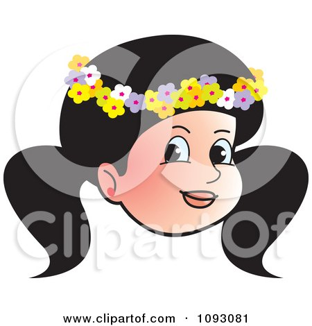 Clipart Pretty Girl Wearing A Floral Band On Her Head - Royalty Free Vector Illustration by Lal Perera