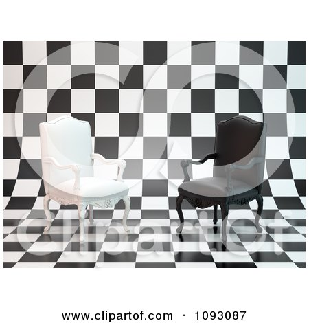 Clipart 3d Black And White Antique Chairs On A Checkered Background - Royalty Free CGI Illustration by Mopic