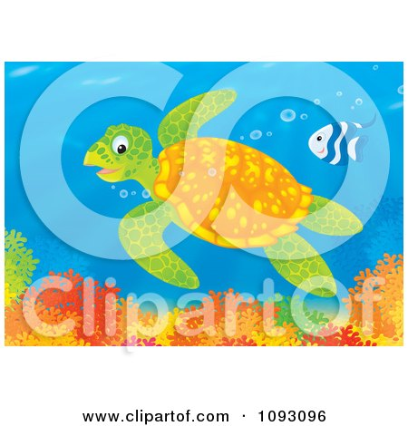 Clipart Sea Turtle And Fish Swimming Over A Reef - Royalty Free Illustration by Alex Bannykh
