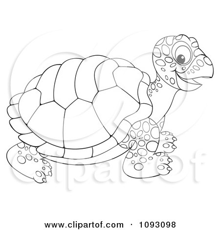 Clipart Happy Outlined Tortoise - Royalty Free Illustration by Alex Bannykh
