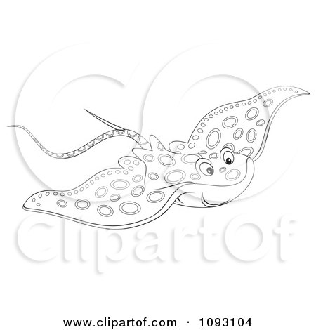 Clipart Outlind Speckled Manta Ray - Royalty Free Illustration by Alex Bannykh