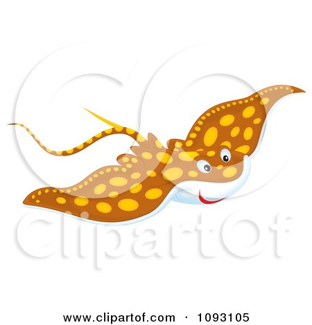 Clipart Speckled Brown Manta Ray - Royalty Free Illustration by Alex Bannykh