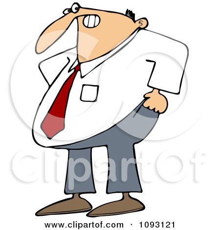 Clipart Frustrated Businessman Trying To Pull His Pants Up Over His Belly - Royalty Free Vector Illustration by djart