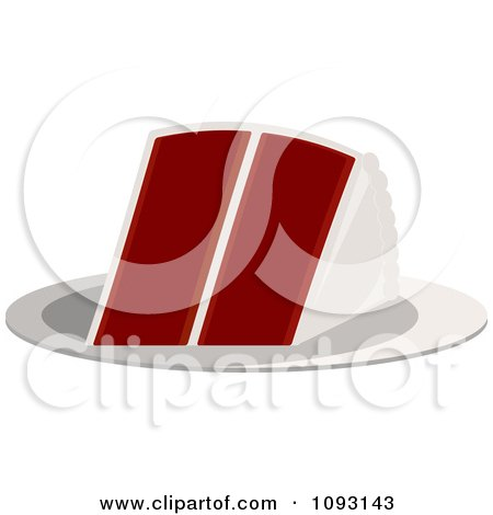 Clipart Serving Of Red Velvet Cake - Royalty Free Vector Illustration by Randomway