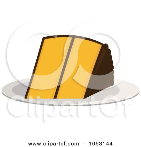 Clipart Serving Of Chocolate And Yellow Cake - Royalty Free Vector Illustration by Randomway
