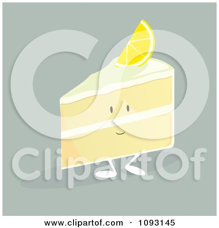 Clipart Lemon Cake Slice Character - Royalty Free Vector Illustration by Randomway