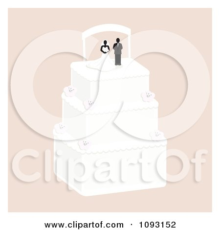 Clipart Layered Wedding Cake With A Bride And Groom Topper 5 Royalty Free
