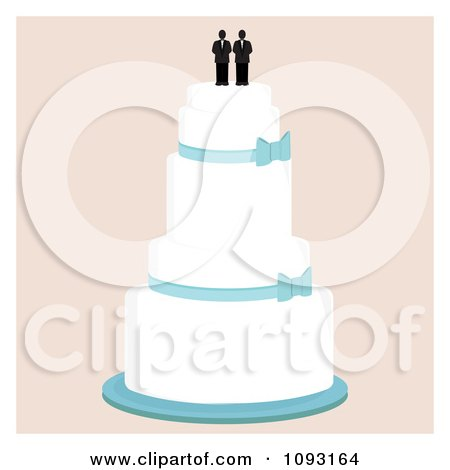 Clipart Layered Wedding Cake With A Gay Topper 1 Royalty Free Vector