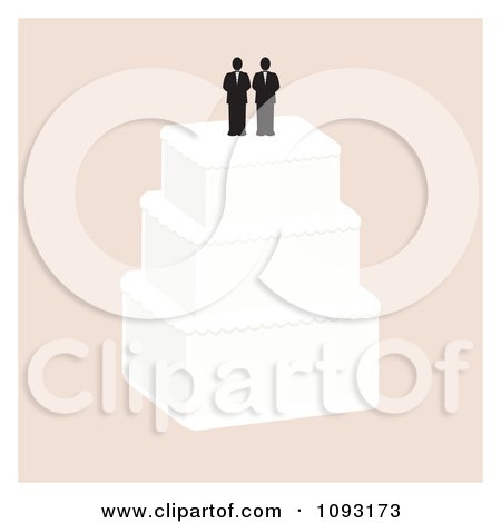 Clipart Layered Wedding Cake With A Gay Topper 3 Royalty Free Vector