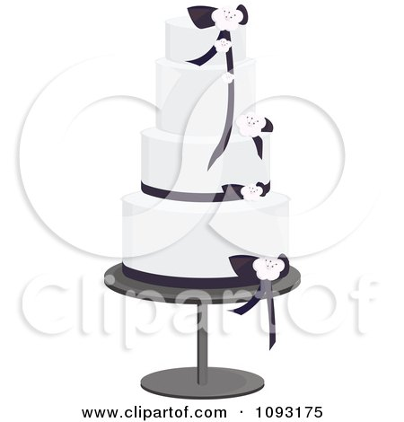Clipart Beautiful Black And White Blossom And Ribbon Wedding Cake - Royalty Free Vector Illustration by Randomway