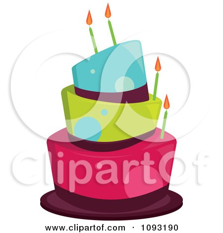 Clipart Funky Blue Green And Pink Dot Birthday Cake - Royalty Free Vector Illustration by Randomway