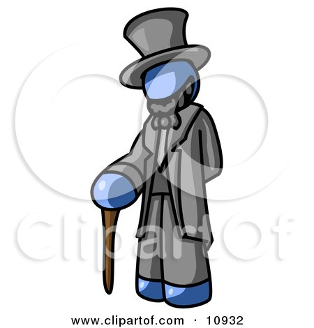 Blue Man Depicting Abraham Lincoln With a Cane Clipart Illustration by Leo Blanchette