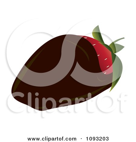 Clipart Dark Chocolate Dipped Strawberry - Royalty Free Vector Illustration by Randomway