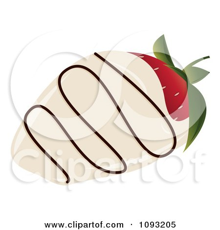 Clipart White Chocolate Dipped Strawberry With Icing - Royalty Free Vector Illustration by Randomway