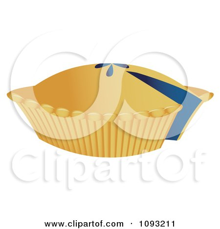 Clipart Blueberry Pie With A Missing Slice - Royalty Free Vector Illustration by Randomway