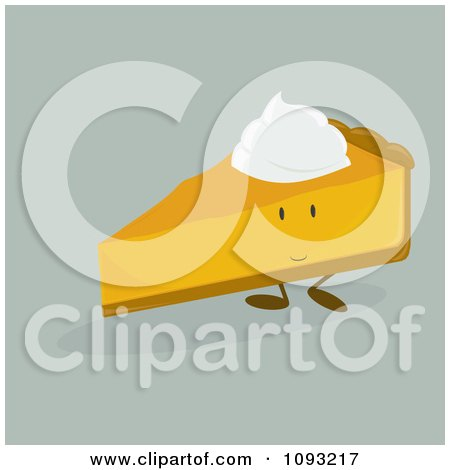Clipart Slice Of Pumpkin Pie Character - Royalty Free Vector Illustration by Randomway
