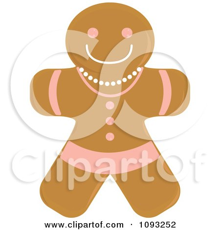 Clipart Gingerbread Woman Cookie 1 - Royalty Free Vector Illustration by Randomway