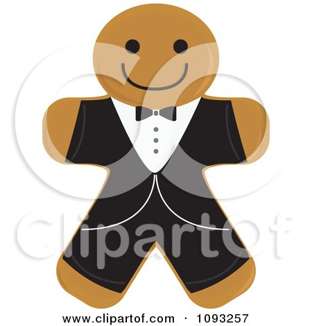 Clipart Gingerbread Groom Cookie - Royalty Free Vector Illustration by Randomway