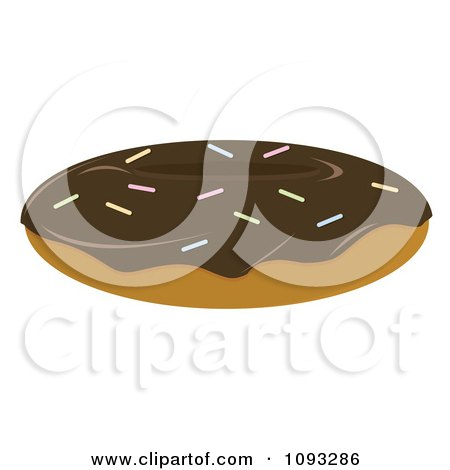 Clipart Chocolate Frosted Donut - Royalty Free Vector Illustration by Randomway