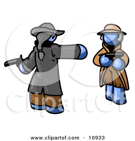 Blue Man Challenging Another Blue Man to a Duel With Pistils Clipart Illustration by Leo Blanchette