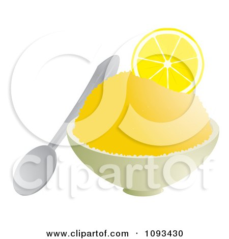 Clipart Bowl Of Lemon Shaved Ice  Royalty Free Vector