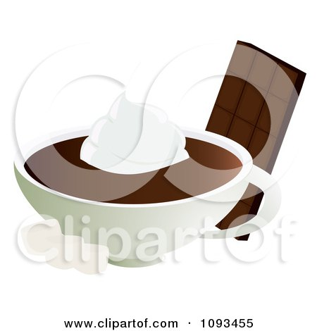 Clipart Candy Bar With Hot Chocolate Cream And Marshmallows - Royalty Free Vector Illustration by Randomway