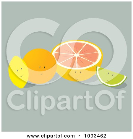 Clipart Citrus Fruit Characters - Royalty Free Vector Illustration by Randomway