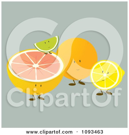 Clipart Citrus Fruit Friends - Royalty Free Vector Illustration by Randomway