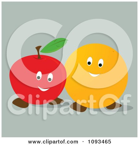Clipart Happy Orange And Apple - Royalty Free Vector Illustration by Randomway