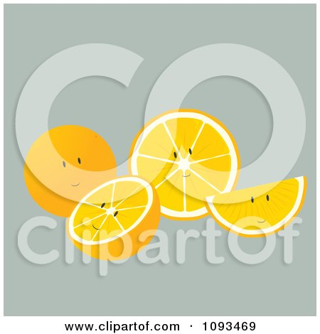 Clipart Orange Characters - Royalty Free Vector Illustration by Randomway