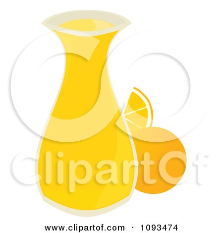 Clipart Carafe Of Orange Juice - Royalty Free Vector Illustration by Randomway