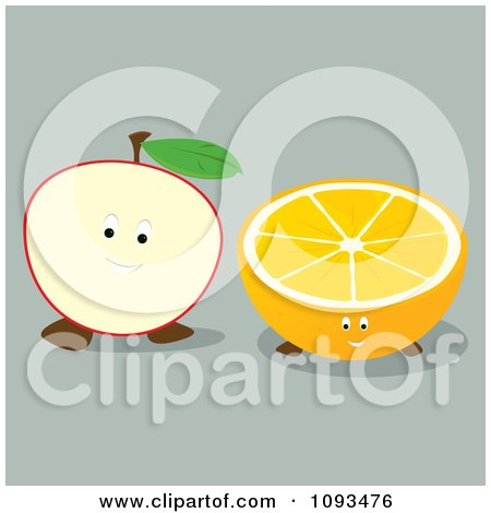 Clipart Apple And Orange Characters - Royalty Free Vector Illustration by Randomway