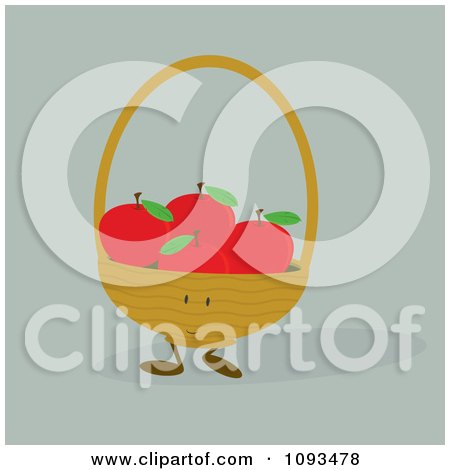Clipart Basket Character Of Red Apples - Royalty Free Vector Illustration by Randomway