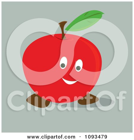 Clipart Happy Red Apple - Royalty Free Vector Illustration by Randomway
