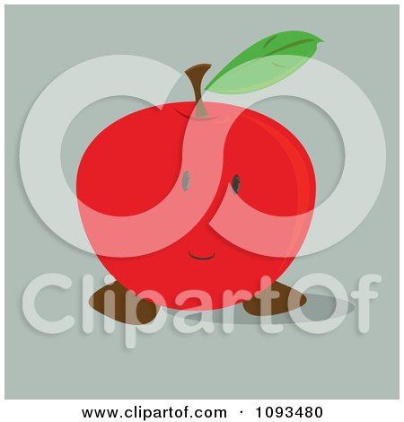 Clipart Shy Red Apple - Royalty Free Vector Illustration by Randomway