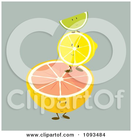 Clipart Pile Of Citrus Fruit Characters - Royalty Free Vector Illustration by Randomway