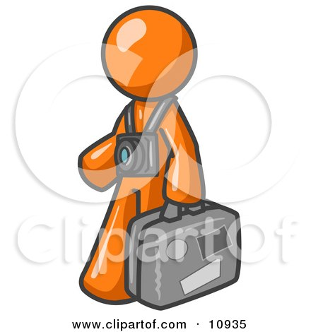 Orange Male Tourist Carrying His Suitcase and Walking With a Camera Around His Neck Posters, Art Prints