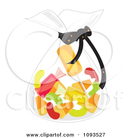 Clipart Bag Of Halloween Candy - Royalty Free Vector ...