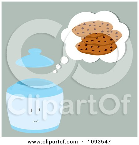 Clipart Thinking Cookie Jar Character 1 - Royalty Free Vector Illustration by Randomway
