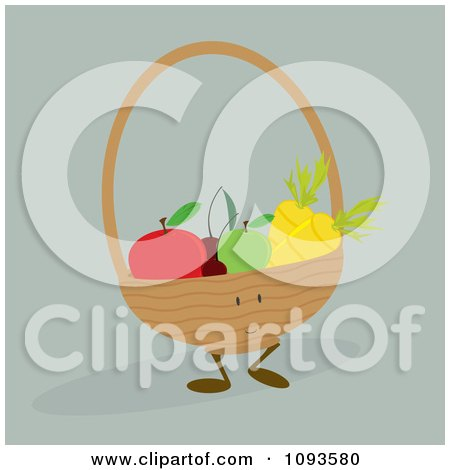 Clipart Basket Character Of Produce - Royalty Free Vector Illustration by Randomway